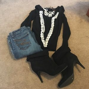 Darling lace button down black cardigan!
