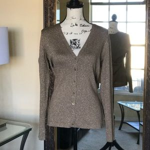 ✨Ann Taylor Taupe/Gold Sparkly Button-Up Cardigan✨