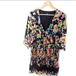 ASOS Dress Size 14 Black w/ Bright Floral Print