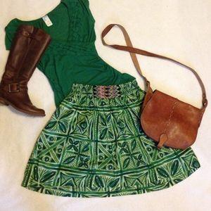 Anthro Vanessa Virginia green floral skirt-pockets
