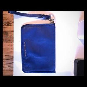 Alexander wang blue leather clutch wallet