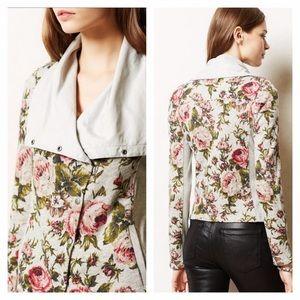 ANTHROPOLOGIE Florascape Moto Jacket Floral Cotton