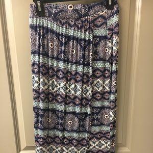 Printed Long Tulip Hem Skirt