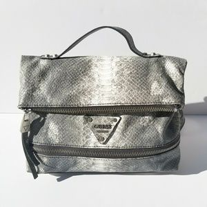 GUESS Faux Snakeskin Expandable Satchel Backpack