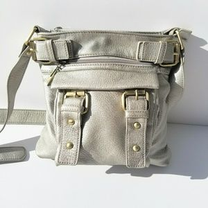 CHARMING CHARLIE Pewter Square Crossbody Bag