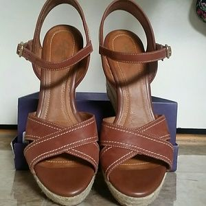 Almost new Clarks leather wedges
