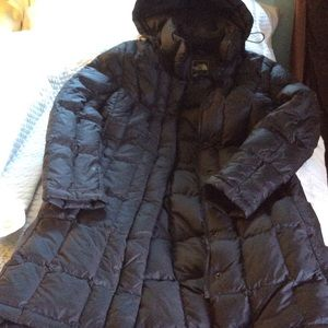 The North Face long goose down coat.
