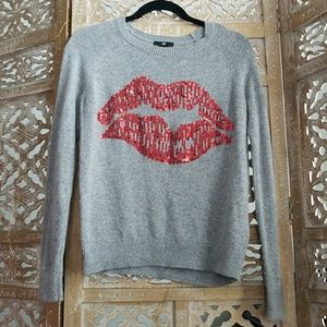 H&M red sequence lip sweater