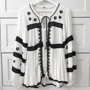 Free People Black and White BoHo Blouse