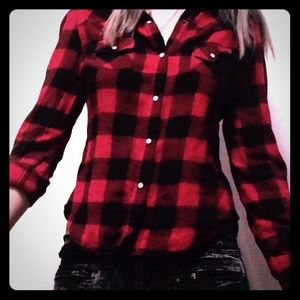 Red and black flannel button down