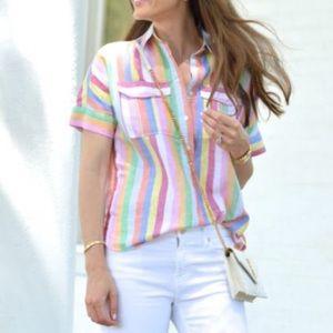 J.Crew candy striped shirt sleeve popover sz 6