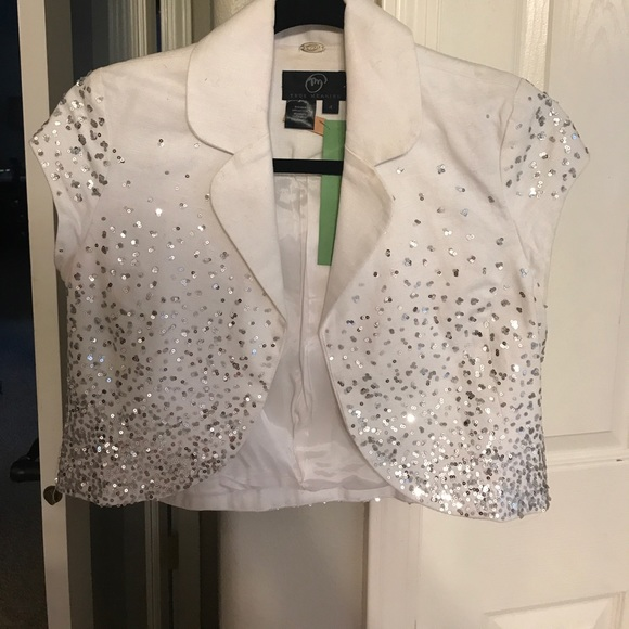 Anthropologie Cropped white jacket sequins