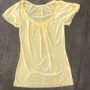 Yellow flutter sleeve top