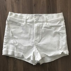 Abercrombie & Fitch High Rise white denim shorts