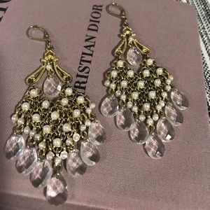 Gold and pearl chandelier earrings