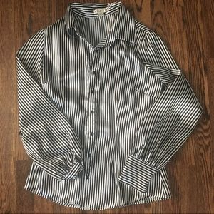EUC black and white striped button up shirt size M