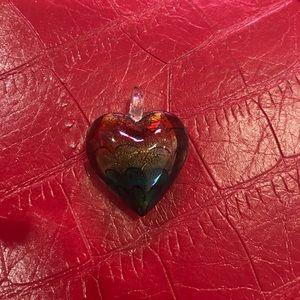 Glass rainbow heart pendant