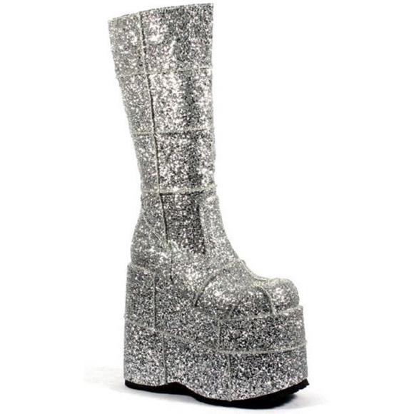 a50a34d2a77 Demonia Shoes - Demonia Glitter Stack Platform Boots