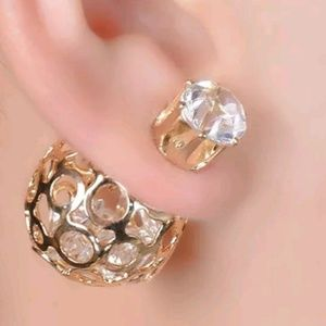 Gold Metal Crystal Filled Double Side Earrings