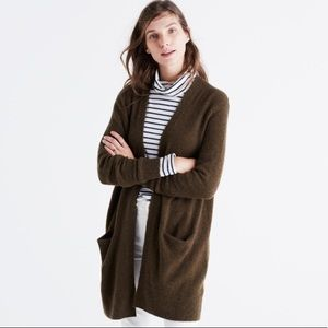 Madewell Ryder wool cardigan in olive green