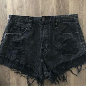 Abercrombie & Fitch high rise black denim shorts
