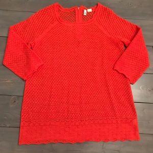 Anthropologie Moth Orange Sweater Sz L