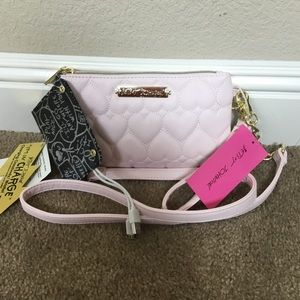 Betsey Johnson Pink Quilted Charging Crossbody NEW