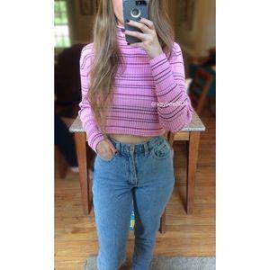 Vtg 90's Pink Striped Turtleneck Crop Sweater 🌷