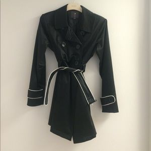 Black Satin Trench Coat