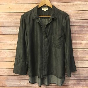 Cloth & Stone Black Cambray Shirt Blouse Large