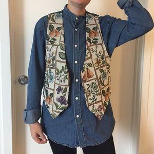 Vintage Embroidered Floral Vest - 1990s!