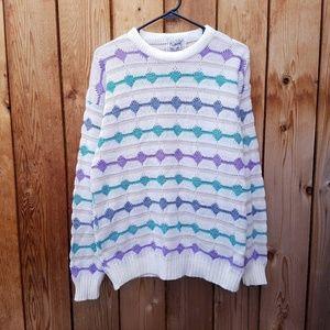 Vintage Elegant Textured Blue Purple White Sweater