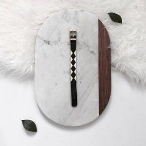 BCBGeneration Black and Gold Leather Bracelet