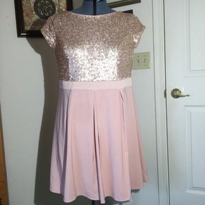 Simply Be Blush pink Sequin Cap Sleeve Dress SZ 20