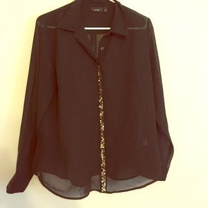 Black chiffon blouse with sequin detail