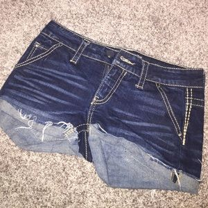 Daytrip shorts, dark wash, super comfy! Once twice