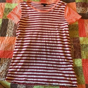 J crew striped fitted tshirt maroon orange & cream