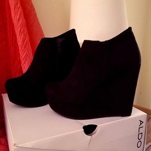 Suede Ankle Wedge Booties