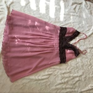 Rose pink and black lace VS GOWN
