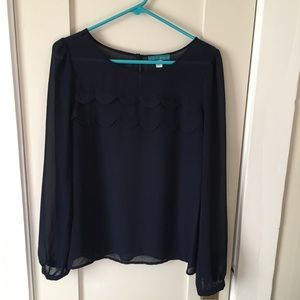 Pin + Larkin Scalloped Chiffon Top in Navy Blue
