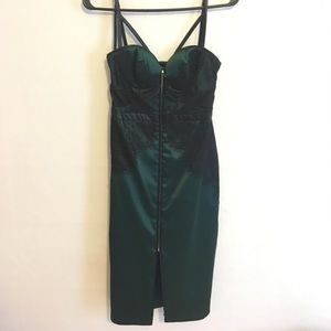 BeBe Emerald Satin and Lace Fitted Midi Dress