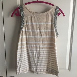 J. Crew- Beige and White Stripe Tank with Sequin