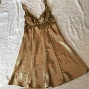 Gold satin VS gown, padded bra covered in lace.