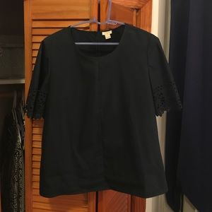 J. Crew detailed short sleeved navy top size L