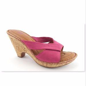 BORN Hot Pink Nubuck Slide Wedge Sandal