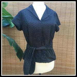 Black Eyelet Shirt w/Embroidery & Sash Pet Med