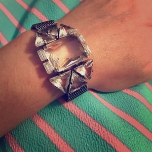 J.Crew Bracelet EUC!!! Silver and large cut glass!