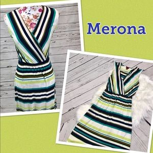 Merona XS Lime Green/Blue Striped Sleeveless dress