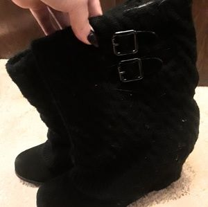 Steve Madden Cable Sweater Wedge Boots Aspire