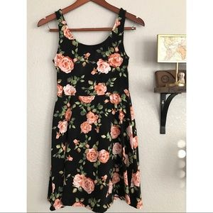 Black and pink floral skater dress